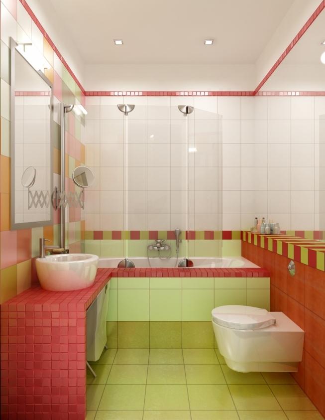 яркая ванная в красном цвете