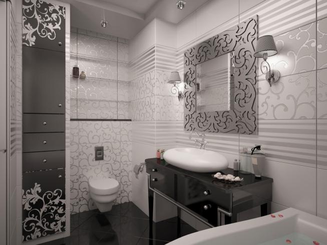 серая ванная в стиле арт-деко