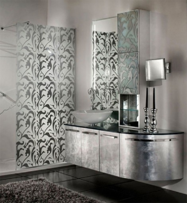 красивая ванная в стиле арт-деко