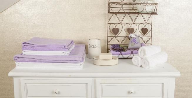 аксессуары для ванной в сиреневом цвете