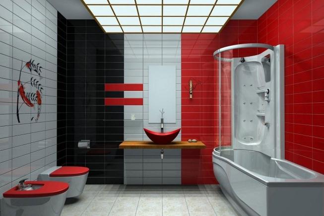 модная ванная в красном цвете