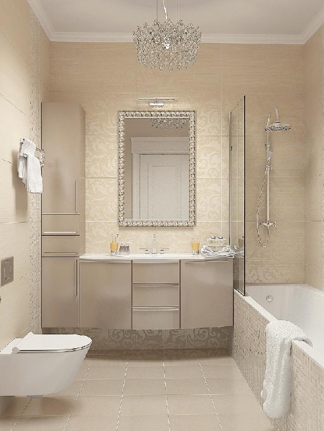 светлая ванная в стиле арт-деко