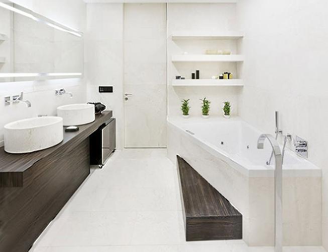 ванна в стиле минимализм в белом цвете